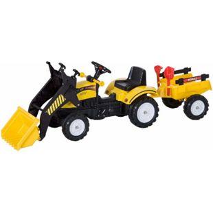 HOMCOM Traktor mit Fontlader und Anhänger schwarz,gelb 167 x 41 x 52 cm (LxBxH) | Tretauto Trettraktor Kinderfahrzeug Kinderspielzeug - Bild 1