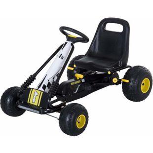 HOMCOM Go Kart mit Handbremse schwarz 95 x 66,5 x 57 cm (LxBxH) | Tretauto Tretfahrzeug Kinderfahrzeug Spielzeug - Bild 1