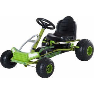 HOMCOM Tretauto mit Handbremse grün 95 x 66,5 x 57 cm (LxBxH) | Go Kart Tretfahrzeug Kinderfahrzeug Spielzeug - Bild 1