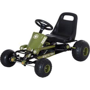 HOMCOM Kinder Tretauto mit Handbremse grün 99 x 65 x 56 cm (LxBxH) | Go Kart Tretfahrzeug Kinderfahrzeug Spielzeug - Bild 1