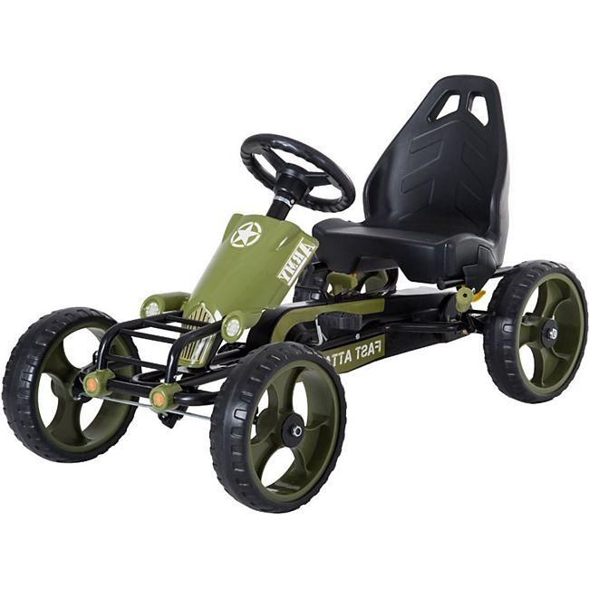 HOMCOM Kinder Go Kart mit Handbremse grün 105 x 54 x 61 cm (LxBxH) | Tretauto Tretfahrzeug Kinderfahrzeug Spielzeug - Bild 1