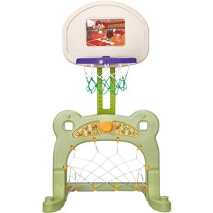 HOMCOM 2 in 1 Basketballkorb inkl. Fußballtor bunt 61 x 53 x 99 cm (LxBxH) | Fußball Basketball Kinder Spielzeug Ball Spiele - Bild 1