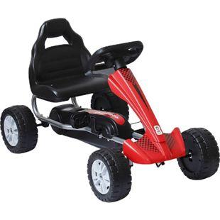 HOMCOM Kinderfahrzeug mit Pedalen rot, schwarz 80 x 49 x 50 cm (LxBxH) | Tretauto Tretfahrzeug Kinder Go-Kart Spielzeug - Bild 1