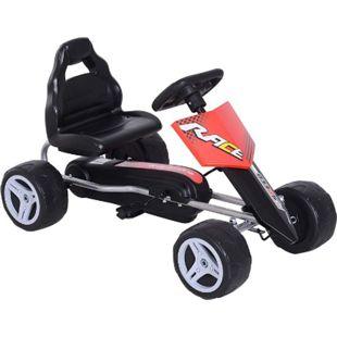 HOMCOM Kinder Go-Kart rot, schwarz 80 x 49 x 50 cm (LxBxH) | Tretauto Tretfahrzeug Kinderfahrzeug Spielzeug - Bild 1