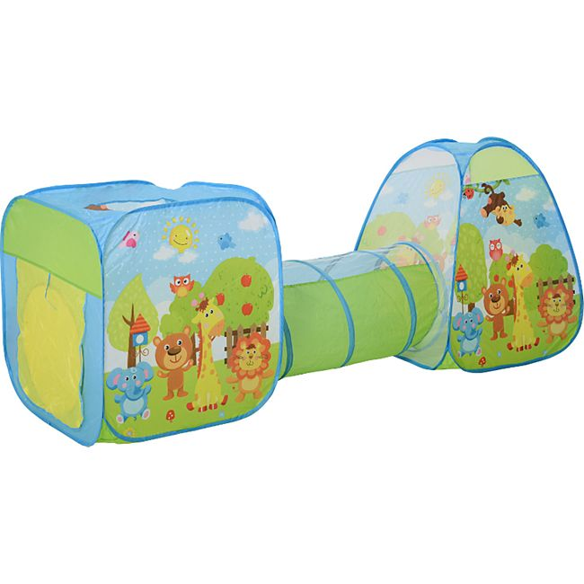HOMCOM Pop-up Kinderspielzelt bunt 230 x 74 x 93 cm (LxBxH) | Kinderzelt Kinder Spielzelt mit Tunnel Kinderhaus - Bild 1