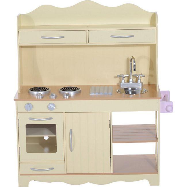 HOMCOM Kinderküche gelb 70 x 30 x 95 cm (LxBxH) | Spielzeugküche Kinderspielküche Spielzeug Spielküche - Bild 1