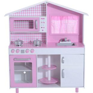 HOMCOM Kinderküche rosa, weiß 110 x 32,5 x 99,5 cm (LxBxH) | Spielzeugküche Kinderspielküche Spielzeug Spielküche - Bild 1