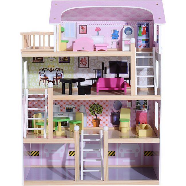 HOMCOM Kinder Puppenhaus mit Möbeln rosa 60 x 30 x 80 cm (LxBxH)   Puppenstube Barbiehaus Puppenholzhaus mit Möbeln - Bild 1