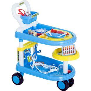 HOMCOM Kinder Arztwagen blau 47 x 30 x 55 cm (LxBxH) | Doktor Trolley Rollenspiel Kinderspielzeug - Bild 1