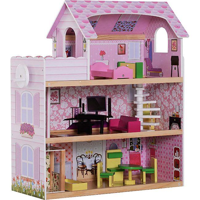 HOMCOM Kinder Puppenhaus mit Möbeln rosa 60 x 30 x 71,5 cm (LxBxH) | Puppenstube Barbiehaus Puppenholzhaus mit Möbeln - Bild 1