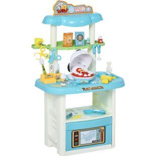 HOMCOM Tierarzt-Spielset mit Zubehör weiß, blau 50 x 32 x 86 cm (BxTxH) | Medizinisches Spielzeug Kinderarzt Spiel Zahnarzt - Bild 1