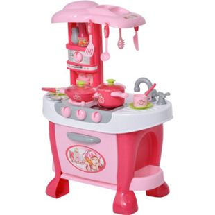 HOMCOM Kinderspielküche mit 38-teiligem Zubehörset rosa 51 x 30 x 73 cm (BxTxH) | Spielküche Kinderküche Kinderzimmer Lernspielzeug - Bild 1