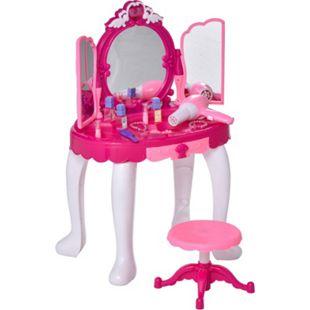 HOMCOM Kinderschminktisch mit Spiegel und Musik rosa, weiß 45 x 30,5 x 72 (BxTxH) | Kosmetiktisch Frisiertisch Kinderzimmer Spielzeug - Bild 1