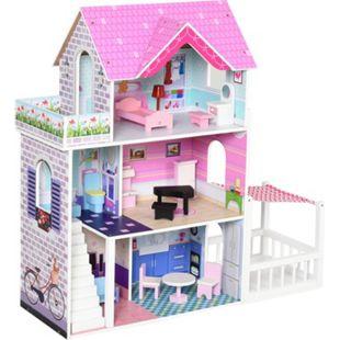 HOMCOM Puppenhaus mit 3 Etagen rosa 86 x 30 x 87 cm (BxTxH) | Barbiehaus Puppenstube Puppenhaus Holz Puppenvilla - Bild 1
