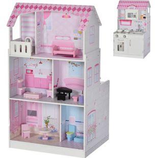 HOMCOM Puppenhaus und Spielküche rosa 60 x 48 x 106 cm (BxTxH) | Kinderküche Barbiehaus Puppenstube Kinderzimmer - Bild 1