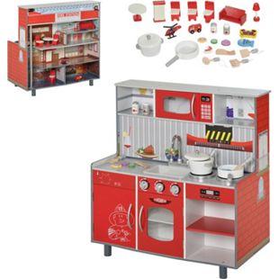 HOMCOM Kinderküche/Feuerwehrhaus mit Zubehör rot 78 x 40 x 81 cm (BxTxH) | Spielzeugküche Kinderspielküche Spielzeug Spielküche - Bild 1