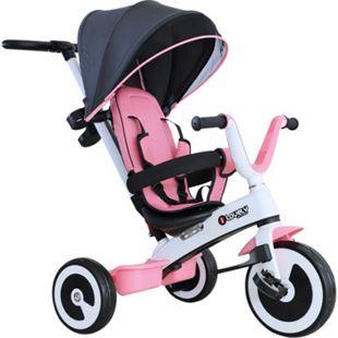 HOMCOM 4 in 1 Kinderdreirad mit Sonnendach 115 x 54 x 96 cm (LxBxH) | Dreirad Kinderfahrrad Kinderfahrzeug Kinderwagen - Bild 1