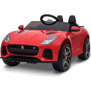 HOMCOM Kinder Elektroauto Jaguar rot 110 x 65 x 48 cm (LxBxH) | Jaguar Kinderauto Kinderfahrzeug Kinderwagen - Bild 1