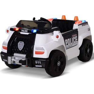 HOMCOM Kinder Polizeiauto mit Fernbedienung weiß 106,5 x 66 x 52,6 cm (LxBxH) | Elektroauto Kinderauto Kinderfahrzeug Kinderwagen - Bild 1