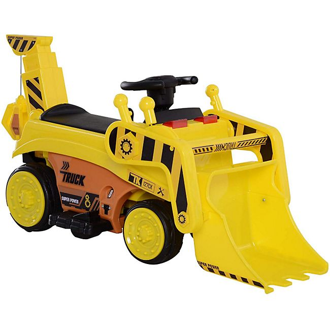 HOMCOM Kinder Bulldozer gelb 106,9 x 41,2 x 53 cm (LxBxH) | Radlader Elektroauto Kinderfahrzeug Kinderauto - Bild 1