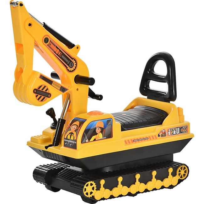 HOMCOM Rutscherfahrzeug als Bagger gelb, schwarz 78 x 24 x 58,5 cm (LxBxH) | Kids Rutscher Bagger Laufauto Laufhilfe Rutscherauto - Bild 1