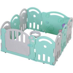HOMCOM Baby Laufgitter mit Ballkorb und 3 Zahnräder 162 x 84 x 63 cm (LxBxH)   Schutzgitter Absperrgitter für Babys Krabbelgitter - Bild 1