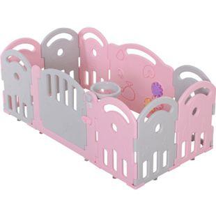 HOMCOM Baby Laufgitter mit Ballkorb und 3 Zahnräder 162 x 84 x 63 cm (LxBxH) | Schutzgitter Absperrgitter für Babys Krabbelgitter - Bild 1