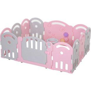 HOMCOM Baby Schutzgitter mit Ballkorb und 3 Zahnräder 162 x 122 x 63 cm (LxBxH) | Laufgitter Absperrgitter für Babys Krabbelgitter - Bild 1