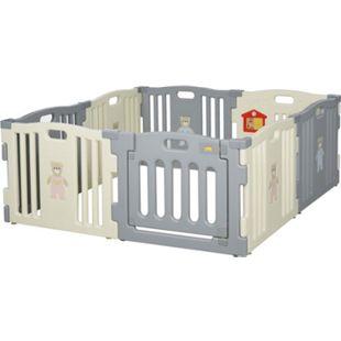 HOMCOM Baby Laufgitter weiß, grau 156 x 156 x 63 cm (LxBxH) | Schutzgitter Absperrgitter für Babys Krabbelgitter - Bild 1
