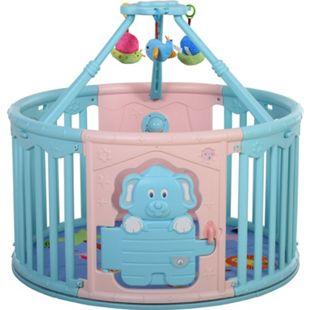 HOMCOM Baby Laufgitter mit Tierprint rosa, blau 117 x 106 cm (ØxH) | Schutzgitter Absperrgitter für Babys Krabbelgitter - Bild 1