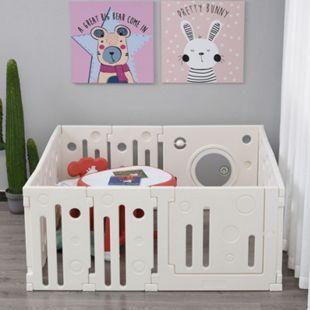 HOMCOM Baby Laufgitter weiß 153 x 150 x 64 cm (LxBxH) | Schutzgitter Absperrgitter für Babys Krabbelgitter - Bild 1