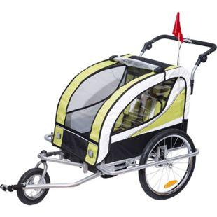 HOMCOM 2 in 1 Kinderanhänger für 2 Kinder grün, weiß, schwarz 106 x 90 x 105 cm (LxBxH) | Fahrradanhänger Kinderjogger Kinderwagen Anhänger - Bild 1