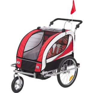HOMCOM 2 in 1 Fahrradanhänger für 2 Kinder rot, schwarz 106 x 90 x 105 cm (LxBxH) | Kinderanhänger Kinderjogger Kinderwagen Anhänger - Bild 1