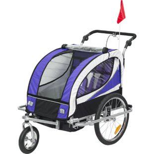 HOMCOM 2 in 1 Kinderanhänger für 2 Kinder lila, weiß, schwarz 106 x 90 x 105 cm (LxBxH) | Fahrradanhänger Kinderjogger Kinderwagen Anhänger - Bild 1