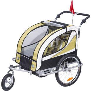 HOMCOM 2 in 1 Fahrradanhänger für 2 Kinder gelb, weiß, schwarz 106 x 90 x 105 cm (LxBxH) | Kinderanhänger Kinderjogger Kinderwagen Anhänger - Bild 1