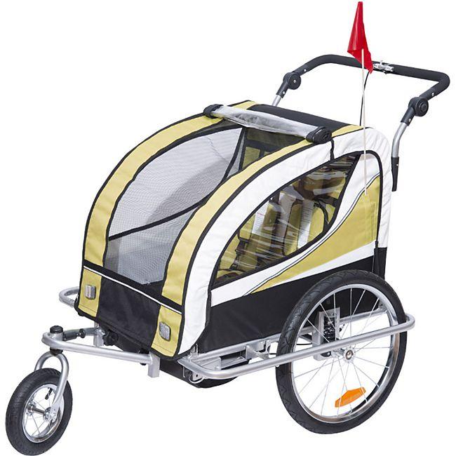 homcom 2 in 1 fahrradanh nger f r 2 kinder gelb wei schwarz 106 x 90 x 105 cm lxbxh. Black Bedroom Furniture Sets. Home Design Ideas