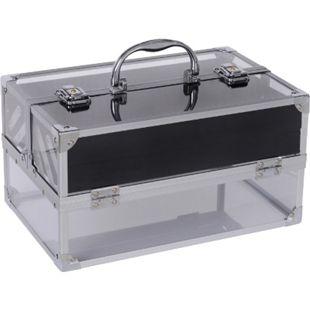 HOMCOM Schmuckkästchen transparent, schwarz 30 x 19,2 x 16 cm (LxBxH) | Schmuckkasten Schmuckschatulle Make-up-Box - Bild 1