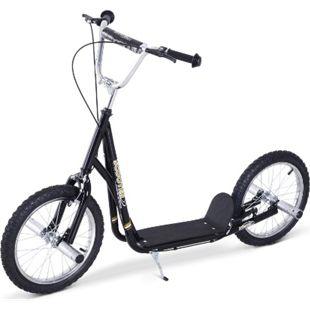 HOMCOM City Tretroller für Kinder schwarz, silber 143 x 58 x (80-90) cm (LxBxH) | Tretroller Scooter Cityroller Stadtflitzer Roller - Bild 1