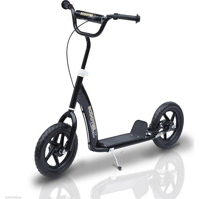 HOMCOM Kinder Tretroller höhenverstellbar schwarz 120 x 52 x 75-86 cm (LxBxH) | Kids Scooter Kinderroller Cityroller Kickboard - Bild 1