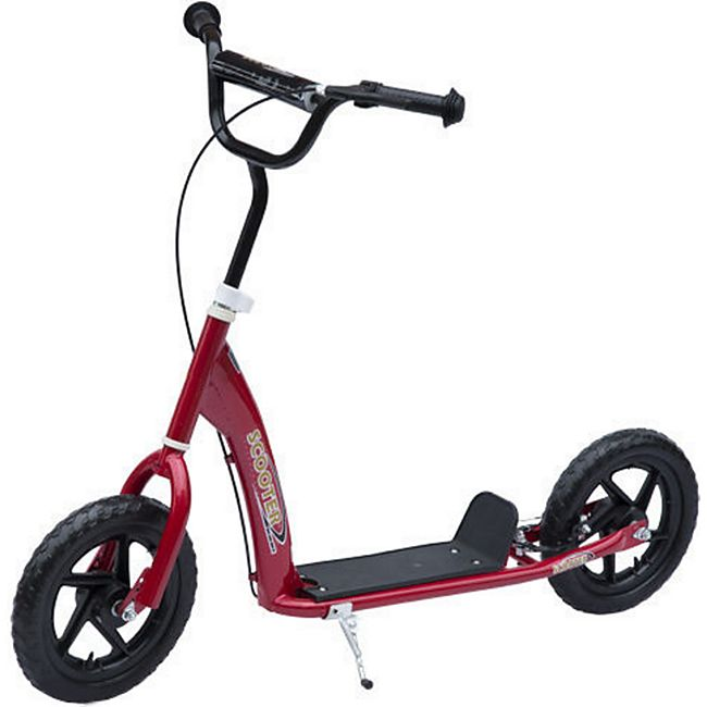 HOMCOM Kinder Cityroller höhenverstellbar rot 120 x 52 x 75-86 cm (LxBxH)   Kids Scooter Kinderroller Tretroller Kickboard - Bild 1