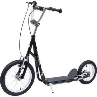 HOMCOM Kinder Tretroller mit höhenstellbarem Lenker schwarz, silber 125 x 58 x (80-90) cm (LxBxH) | Scooter Cityroller Roller Bike City Tretroller - Bild 1