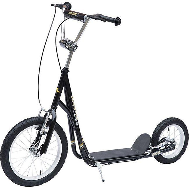 HOMCOM Kinder Tretroller mit höhenstellbarem Lenker schwarz, silber 125 x 58 x (80-90) cm (LxBxH)   Scooter Cityroller Roller Bike City Tretroller - Bild 1