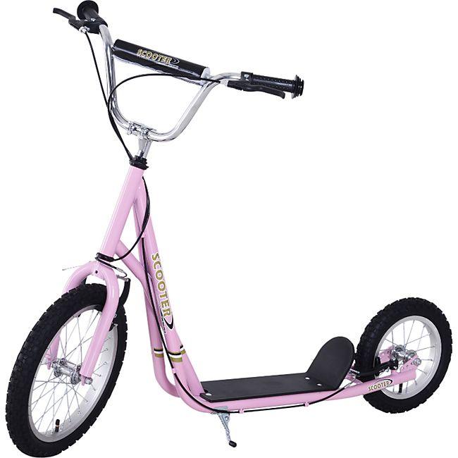 HOMCOM Scooter mit höhenstellbarem Lenker pink, schwarz, silber 125 x 58 x (80-90) cm (LxBxH) | City Tretroller Kinder Cityroller Kinderroller - Bild 1