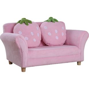 HOMCOM Kinder Erdbeersofa rosa, grün 90 x 50 x 43 cm (LxBxH) | Kindersessel Softsofa Kinderzimmer Sofa Sessel - Bild 1