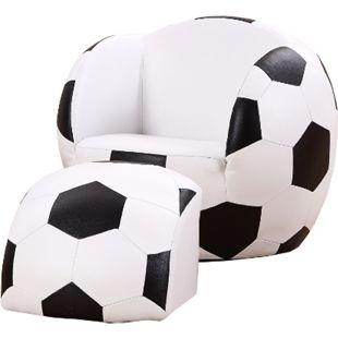 HOMCOM Kindersofa als Fußball schwarz, weiß 51,5 x 47,5 x 43 cm (LxBxH) | Kindersessel Fußballsofa Softsofa Kinderzimmer - Bild 1
