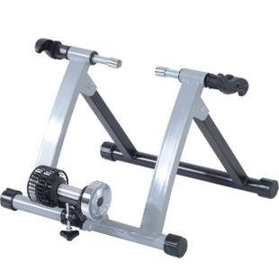 HOMCOM Heimtrainer mit Luftwiderstandsbremse silber, schwarz 39,1 x 54,5 x 47,2 cm (LxBxH) | Rollentrainer Fahrrad Rennrad Trainingsgestell - Bild 1
