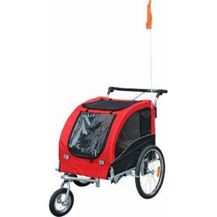 PawHut Hundeanhänger mit beidseitiger Feststellbremse rot, schwarz 130 x 90 x 110 cm (LxBxH) | Hundefahrradanhänger Hundejogger pet bike trailer - Bild 1