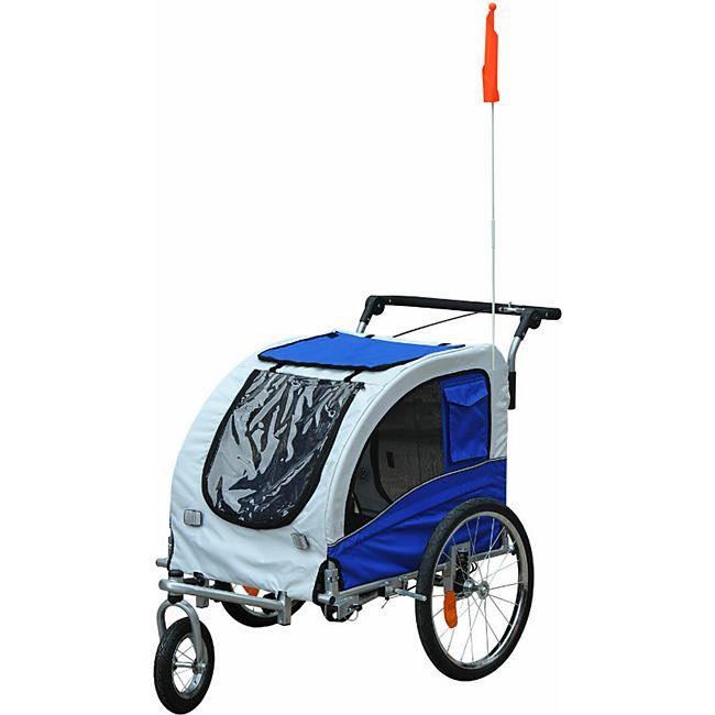 PawHut Hundeanhänger mit beidseitiger Feststellbremse grau, blau 130 x 90 x 110 cm (LxBxH) | Hundejogger Hundefahrradanhänger pet bike trailer - Bild 1