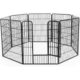 PawHut Freilaufgehege für Kaninchen, Welpen und Kleintiere schwarz | Freigehege Laufstall Welpenzaun Welpenauslauf - Bild 1