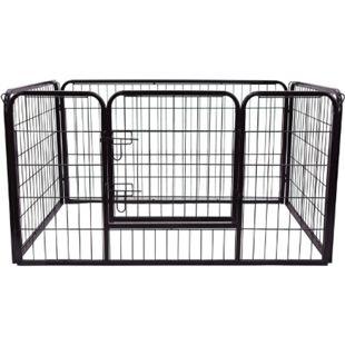 PawHut Welpenauslauf für Hasen/Kaninchen schwarz 125 x 80 x 70 cm (LxBxH) | Freigehege Laufstall Freilaufgehege Welpenzaun - Bild 1